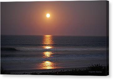 Ocean Moon In Pastels Canvas Print by DigiArt Diaries by Vicky B Fuller