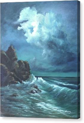 Seascape And Moonlight An Ocean Scene Canvas Print
