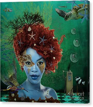 Canvas Print featuring the digital art Ocean by Nola Lee Kelsey