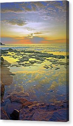Canvas Print featuring the photograph Ocean Puddles At Sunset On Molokai by Tara Turner