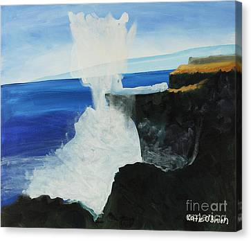 Ocean Spray At Blowhole Canvas Print by Katie OBrien - Printscapes