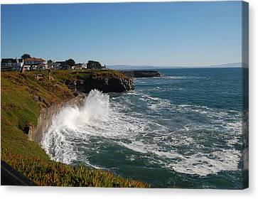 Ocean Spray In Santa Cruz Canvas Print by Garnett  Jaeger