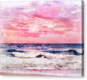 Canvas Print featuring the digital art Ocean Sunrise by Francesa Miller