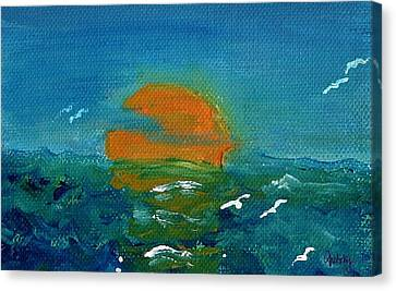 Ocean Sunset Canvas Print by Paintings by Gretzky