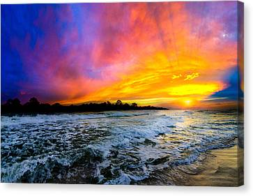 Canvas Print featuring the photograph Ocean Sunset Landscape Photography Red Blue Sunset by Eszra Tanner