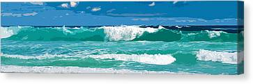 Ocean Surf Illustration Canvas Print by Phill Petrovic