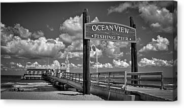Ocean View Fishing Pier Canvas Print by Williams-Cairns Photography LLC