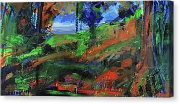 Canvas Print featuring the painting Ocean View Through The Forest by Walter Fahmy