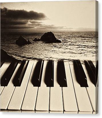 Storm Canvas Print - Ocean Washing Over Keyboard by Garry Gay