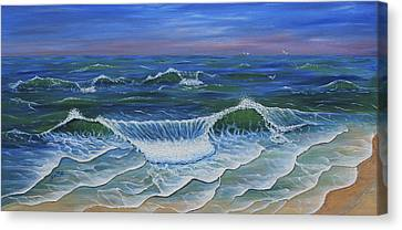 Canvas Print featuring the painting Ocean Waves Dance At Dawn Original Acrylic Painting by Georgeta Blanaru