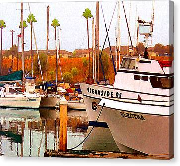 Canvas Print featuring the digital art Oceanside Harbor by Timothy Bulone