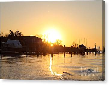 Oceanside Ny Spring Sunset After Fishing Canvas Print by John Telfer