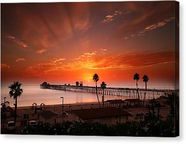 Oceanside Sunset 9 Canvas Print by Larry Marshall