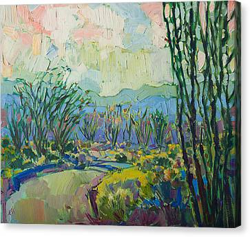 Canvas Print featuring the painting Ocotillo Forest by Erin Hanson