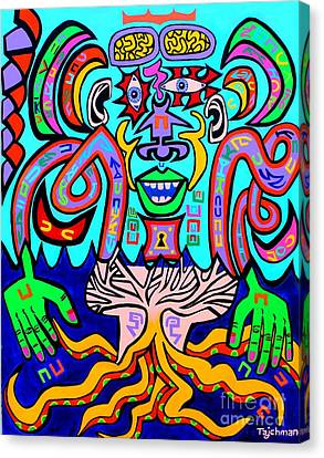 Ocotopus Man In The Sound Wave Sea Canvas Print by Ed Tajchman