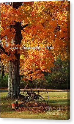 Canvas Print featuring the photograph October Day Love Generosity Hope by Diane E Berry