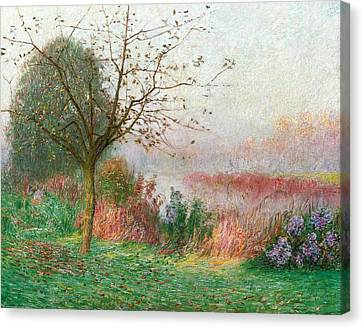 October Morning On The River Lys Canvas Print by Emile Claus