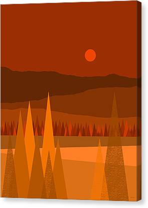 Fall Landscape Canvas Print - October - October Evening by Val Arie