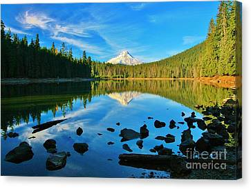 October On The Lake Canvas Print by Sheila Ping