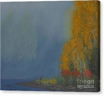 Canvas Print featuring the painting October On The River by Stanza Widen