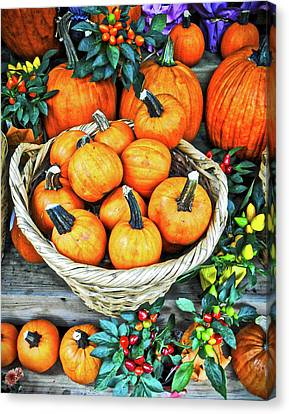 Canvas Print featuring the photograph October Pumpkins by Joan Reese