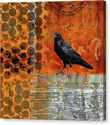 Canvas Print featuring the painting October Raven by Nancy Merkle