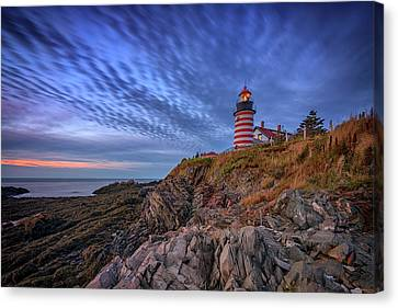 East Quoddy Lighthouse Canvas Print - October Sky At West Quoddy Head Light by Rick Berk