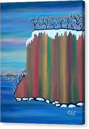 Canvas Print featuring the painting October Snow by Carolyn Cable