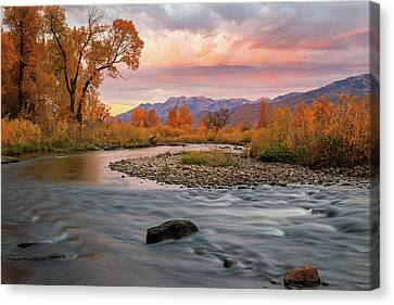 Canvas Print featuring the photograph October Sunrise At The Provo River. by Johnny Adolphson