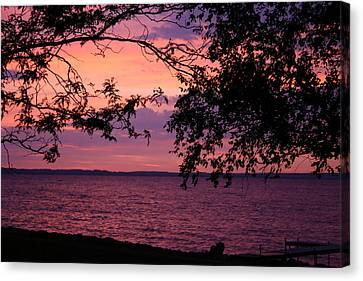 Canvas Print featuring the photograph October Sunrise On Winnebago by Jack G  Brauer