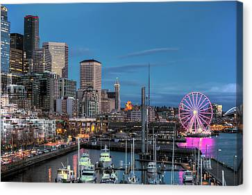 October Twilight Seattle Waterfront Canvas Print