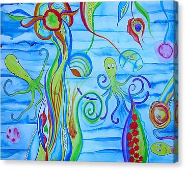 Canvas Print featuring the painting Octopus' Garden by Erika Swartzkopf