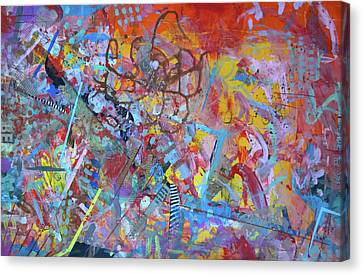 Canvas Print featuring the painting Octopus Playground by Robert Anderson