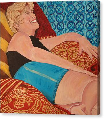 Odalisque In Blue Shorts Canvas Print by Kevin Callahan