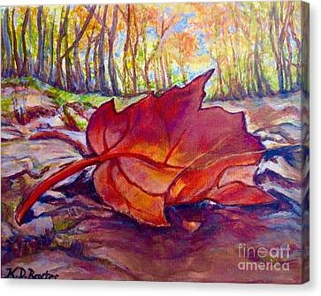 Ode To A Fallen Leaf Painting Canvas Print by Kimberlee Baxter