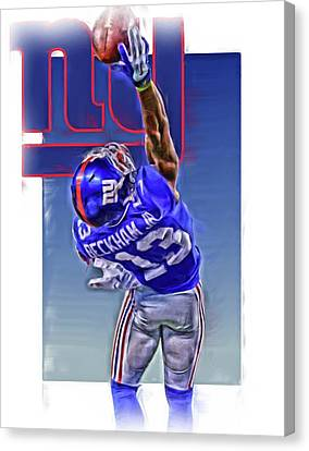 Odell Beckham Jr New York Giants Oil Art 2 Canvas Print by Joe Hamilton