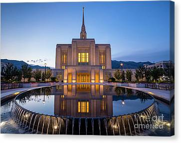 Odgen Lds Temple Sunrise Reflection 2 - Utah Canvas Print by Gary Whitton