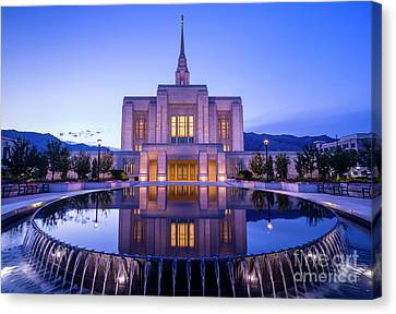 Odgen Lds Temple Sunrise Reflection - Utah Canvas Print by Gary Whitton