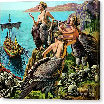 Odysseus And The Sirens Canvas Print by English School