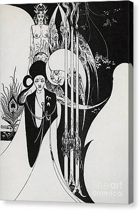 Of A Neophyte And How The Black Art Was Revealed Unto Him Canvas Print by Aubrey Beardsley
