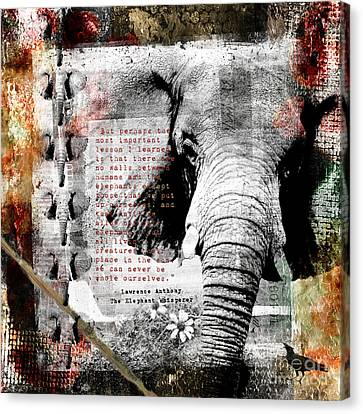 Canvas Print featuring the digital art Of Elephants And Men by Nola Lee Kelsey