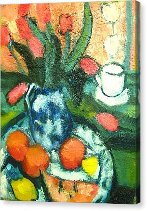 Lif Canvas Print - Of Tulips And Oranges A La Cezanne by Studio Tolere