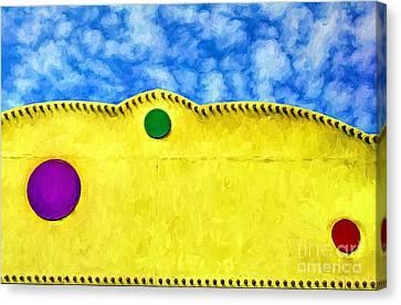 Curve Ball Canvas Print - Off Center But Spot On by Mel Steinhauer
