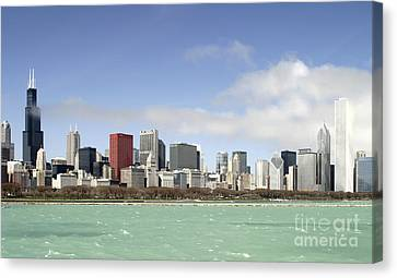 Off The Shore Of Chicago Canvas Print by Ricky L Jones