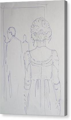 Updo Canvas Print - Off To Dinner - Line Illustration Of A Young Woman In A Twenties Period Dress by Mike Jory