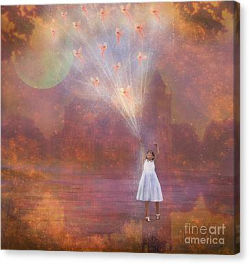 Off To Fairy Land - By Way Of Fairyloons Canvas Print by Carrie Jackson