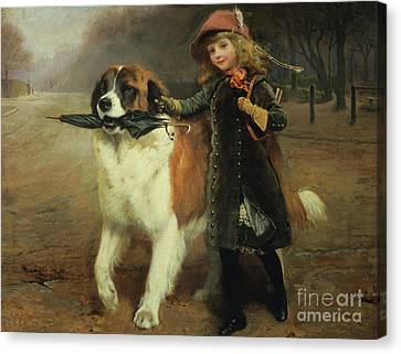 Breed Of Dog Canvas Print - Off To School, 1883 by Charles Burton Barber
