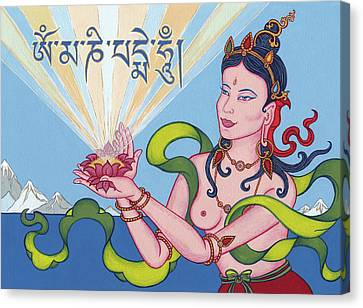 Offering Goddess With Mantra 'om Mani Padme Hum' Canvas Print by Carmen Mensink