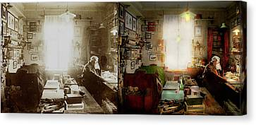 Office - Ole Tobias Olsen 1900 - Side By Side Canvas Print by Mike Savad