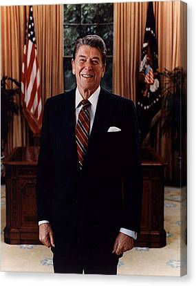 Official Portrait Of President Ronald Reagan 1985 Canvas Print by Mountain Dreams